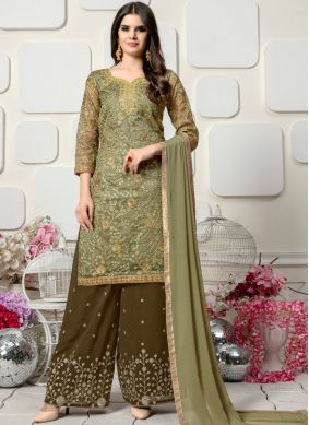 Marvelous Green Ceremonial Designer Palazzo Salwar Suit