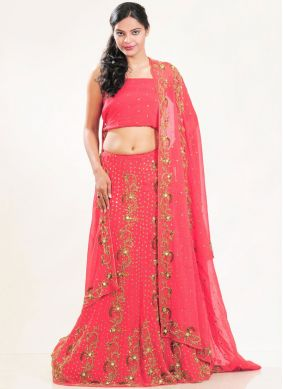 Marvelous Shimmer Georgette Rose Pink Fancy Lehenga Choli