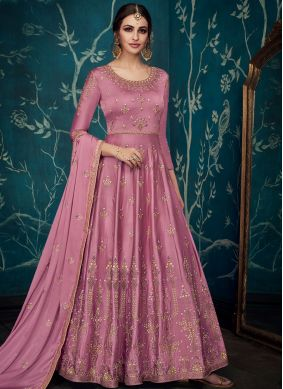 Masterly Embroidered Satin Silk Trendy Anarkali Salwar Suit