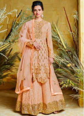 Masterly Peach Floor Length Anarkali Suit