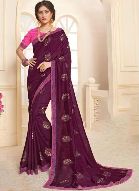 Masterly Purple Mehndi Trendy Saree