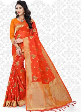 Masterly Red Net Saree