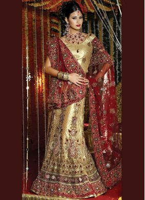 Masterly Resham Net Gold Lehenga Choli