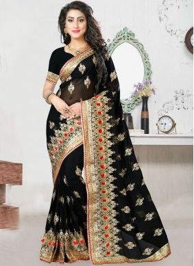 Masterly Zari Georgette Black Designer Saree