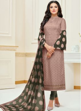 Mauve  Embroidered Churidar Suit