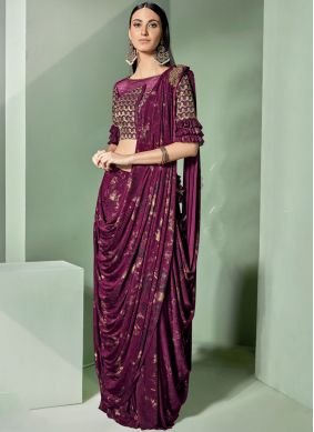 Mauve  Lycra Embroidered Designer Saree