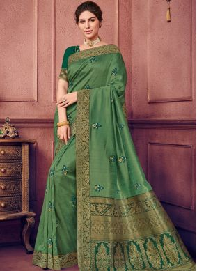 Mesmeric Green Embroidered Art Silk Traditional Saree