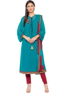 Mesmerizing Turquoise Embroidered Faux Georgette Readymade Suit