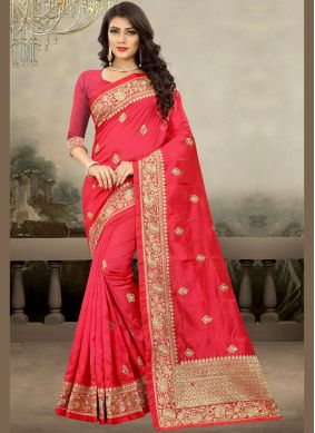 Miraculous Art Silk Hot Pink Traditional Saree