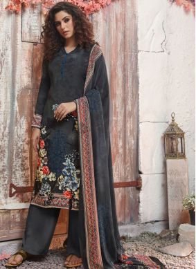Miraculous Black and Grey Printed Pant Style Suit