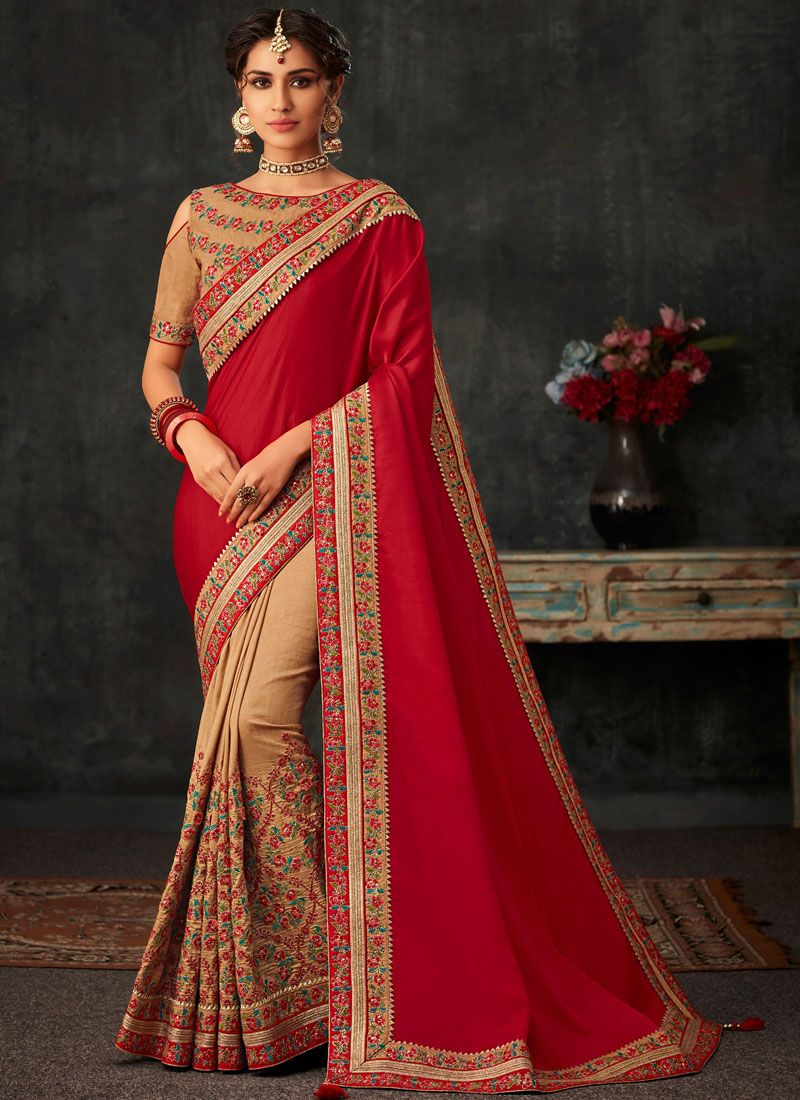 Miraculous Embroidered Beige and Red Poly Silk Half N Half Designer Saree