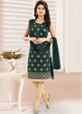 Miraculous Green Ceremonial Churidar Designer Suit
