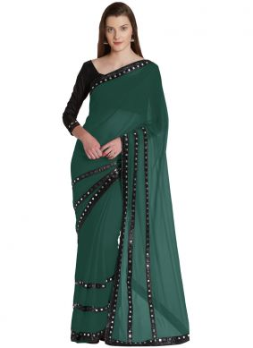 Miraculous Green Chiffon Lace Casual Saree