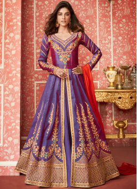 Miraculous Lavender Embroidered Silk Desinger Anarkali Salwar Suit