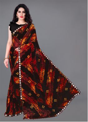 Multi Colour Mirror Faux Georgette Casual Saree
