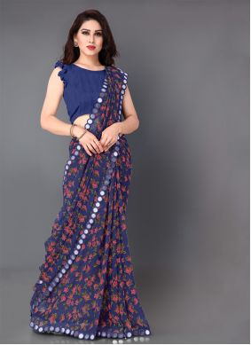 Mirror Faux Georgette Navy Blue Classic Saree