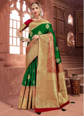Modern Art Silk Green Weaving Traditional Saree