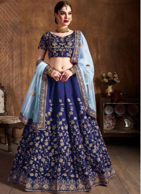 Modern Blue Embroidered Raw Silk Lehenga Choli