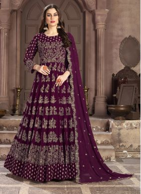 Modern Faux Georgette Wine Embroidered Anarkali Salwar Suit