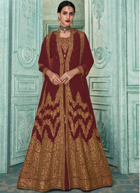 Modernistic Embroidered Georgette Brown Salwar Suit