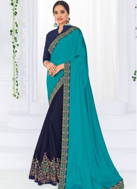 Modest Embroidered Art Silk Blue Half N Half  Saree