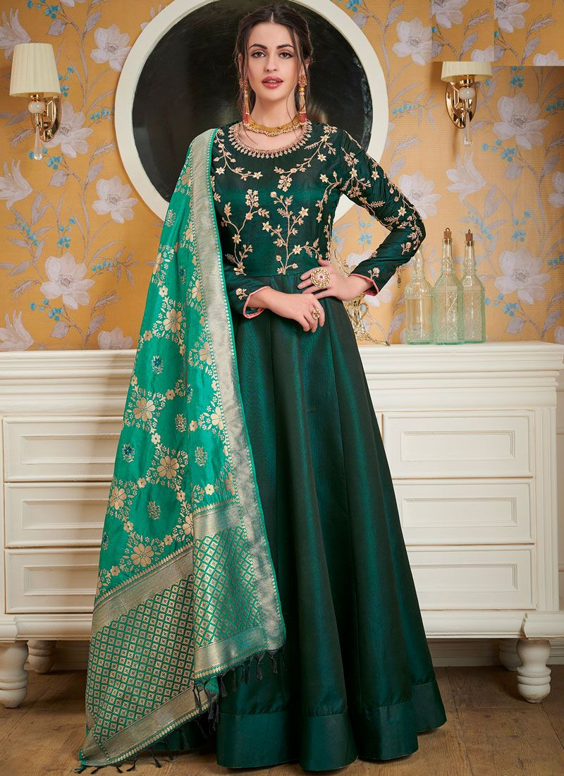 Modest Green Festival Readymade Gown