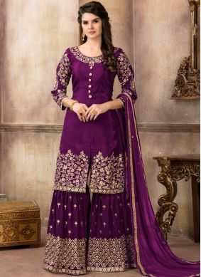 Modest Purple Festival Designer Pakistani Suit