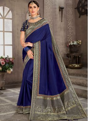 Modest Silk Embroidered Blue Classic Saree