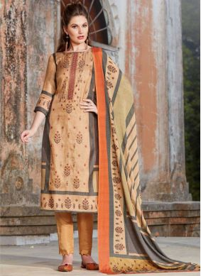Modish Embroidered Peach Tussar Silk Pant Style Suit