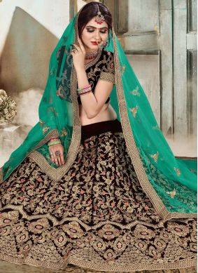 Monumental Brown Resham Lehenga Choli