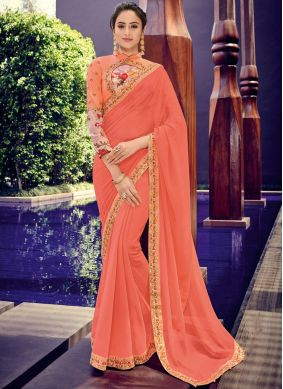 Monumental Faux Chiffon Ceremonial Trendy Saree