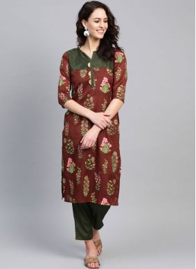 Monumental Print Multi Colour Party Wear Kurti