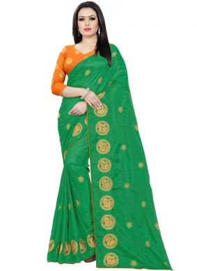 Monumental Silk Embroidered Green Traditional Saree