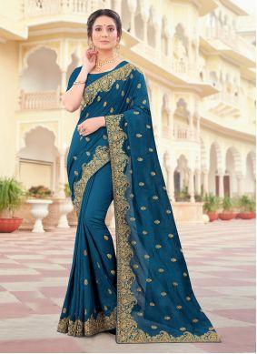 Morpeach  Embroidered Vichitra Silk Traditional Designer Saree