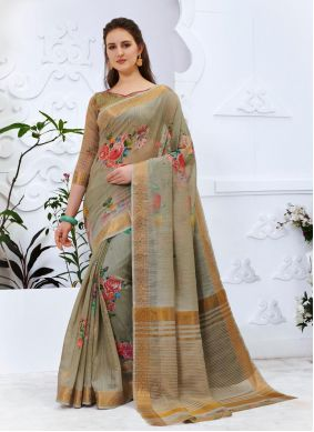 Multi Colour Abstract Print Cotton Silk Printed Saree