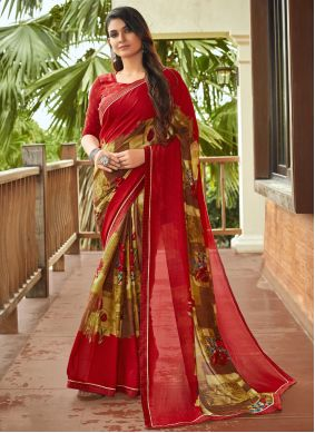 Multi Colour Abstract Print Fancy Fabric Saree