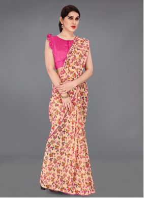 Multi Colour Abstract Printed Georgette Saree