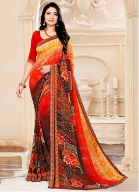 Multi Colour Faux Georgette Abstract Printed Saree