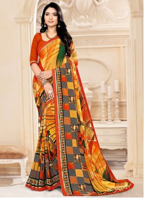 Multi Colour Abstract Printed Faux Georgette Saree