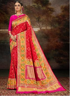 Multi Colour and Red Banarasi Silk Weaving Silk Saree