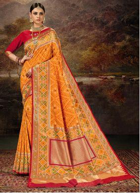 Multi Colour and Yellow Weaving Banarasi Silk Saree