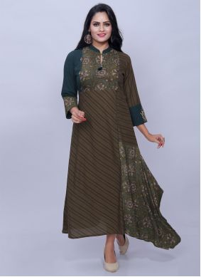 Multi Colour Cotton Party Designer Kurti