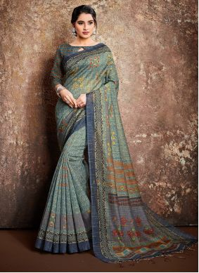 Multi Colour Digital Print Handloom silk Classic Saree