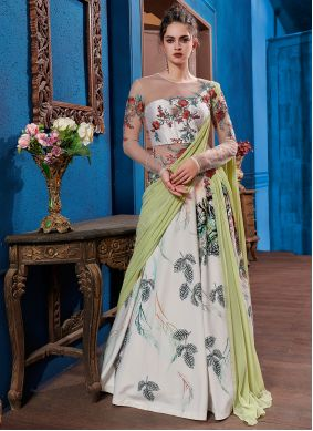 Multi Colour Embroidered Fancy Fabric Designer Gown