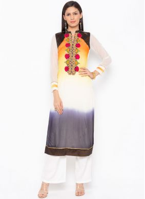 Multi Colour Embroidered Faux Georgette Party Wear Kurti