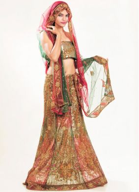 Multi Colour Embroidered Net Lehenga Choli