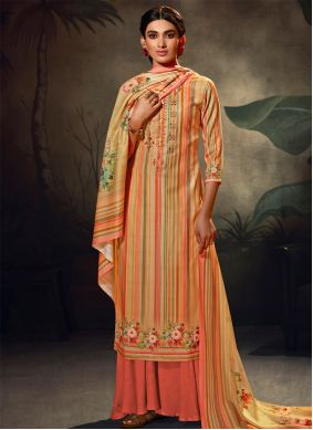 Multi Colour Embroidered Palazzo Suit
