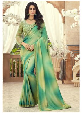 Multi Colour Embroidered Pure Chiffon Saree