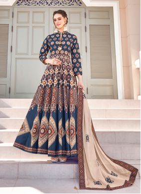 Multi Colour Embroidered Silk Readymade Gown