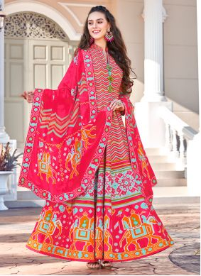 Multi Colour Embroidered Silk Trendy Gown